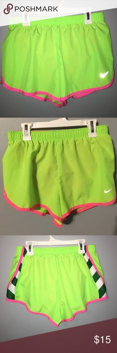 Nike Lime Green Dri-Fit Small Shorts Nike Lime Green Dri-Fit Small Shorts. Waist is a stretchband and has strings to tie it tighter. Has built in undies (if you prefer that). The color on these are very livid. Small pocket on the indside which you could put an id or iPod in. Ask me anything! Nike Shorts