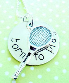 Tennis Necklace Hand Stamped Jewelry by KristyLynnJewelry