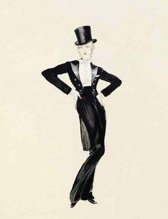 "Travis Banton costume sketches for Marlene Dietrich in ""Morocco"" (1930)."