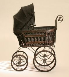 Doll's pram (Victorian replica); via Object Lessons (http://www.objectlessons.org/childhood-and-games-victorians/doll-s-pram-victorian-replica-/s67/a910/).
