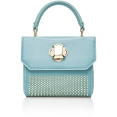 Elie Saab     Nano Top Handle Bag ($1,925) ❤ liked on Polyvore featuring bags, handbags, blue, handle bag, handle handbag, blue purse, elie saab and blue bag