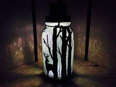 Hiding in the Woods, Mason Jar Solar Light, Hand Painted Mason Jar, Hanging Lantern, Outdoor Solar Light, Quart Size, Outdoor Lighting