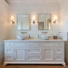 Footed Dual Vanity with Marble Bowl Sinks, Cottage, Bathroom