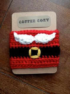 Santa Coffee Cozy by ThreeRingDesigns on Etsy