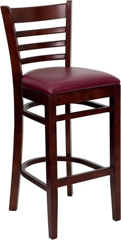 HERCULES Series Mahogany Finished Ladder Back Wooden Restaurant Bar Stool with Burgundy Vinyl Seat XU-DGW0005BARLAD-MAH-BURV-GG by Flash Furniture