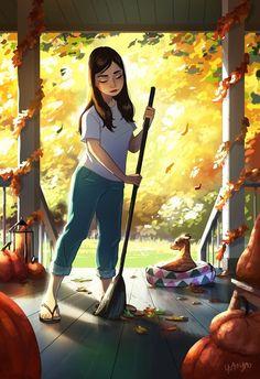 Girl Cartoon, Cartoon Art, Art Drawings Sketches, Cute Drawings, Alone Art, Digital Art Girl, Autumn Art, Girl And Dog, Whimsical Art