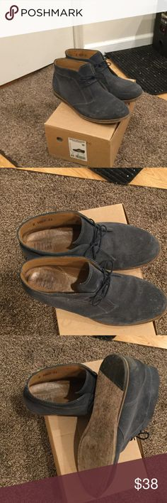 JD Fisk Blue Suede Chukka Boots They were treated with waterproofing spray.  They have wood or leather bottoms that show wear. J.D. Fisk Shoes Chukka Boots