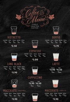 Coffee menu for The Roaster and Barista by The Globe, via Behance Coffee Shop Menu, Coffee Shop Business, Coffee Barista, Coffee Shop Design, Coffee Latte, Espresso Coffee, Coffee Drinks, Coffee Pods, Hot Coffee