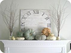Herbst Idee Holz Kürbisse bemalen