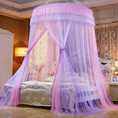 Buy 2019 New Elegant Lace Bed Canopy Mosquito Net Dome Hanging Lace Insect Net Encryption Heightening Ceiling Princess Dome Court at Wish - Shopping Made Fun Princess Canopy Bed, Princess Bedrooms, Princess Beds, Princess Room Decor, Canopy Bed Girl, Princess House, Girl Bedroom Designs, Girls Bedroom, Bedroom Decor