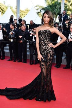 Model Jourdan Dunn wore one of the prettiest dresses from the Cannes Film Festival in 2015 -- a black sheer strapless gown by Ralph and Russo.