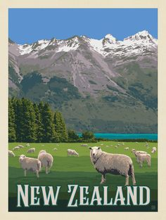 New Zealand: Sheep Travel Collage, New Zealand Art, Travel Illustration, Travel Wall, Travel Themes, Travel Images, Vintage Travel Posters, Beach Trip, Destinations
