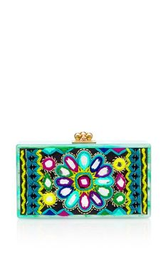 Shop Jean Clutch With Embroidered Inlay by Edie Parker Now Available on Moda Operandi