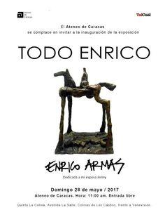 """Enrico Armas inaugura su muestra """"Todo Enrico"""", el domingo 28 de mayo, en el Ateneo de Caracas"""