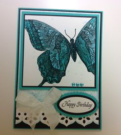 Birthday Card, Stampin Up Swallowtail Stamp, Justrite background stamp, Spellbinders dies, Lindy's Stamp Gang products. So shimmery! Design by Kim Wright