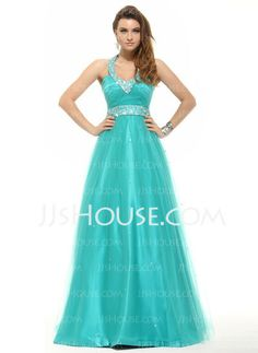 Prom Dresses - $158.89 - A-Line/Princess Halter Floor-Length Tulle Prom Dresses With Beading (018016096) http://jjshouse.com/A-Line-Princess-Halter-Floor-Length-Tulle-Prom-Dresses-With-Beading-018016096-g16096