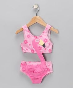 Zulily Girls Pink Flamingo Swimsuit!