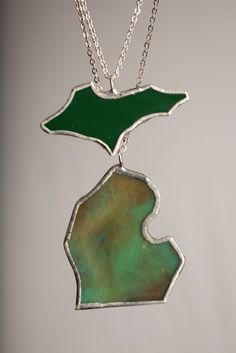 Complete MICHIGAN Set MI and UP Necklaces Glass by GlassAction, $40.00 @Fran