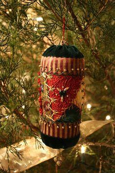 Crazy quilt Christmas ornament