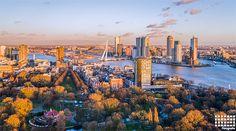 De zonsondergang in Rotterdam