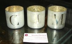 """Mercury Glass Alphabet Votive Cups #potterybarn Size - H- 3.25"""" , Dia - 3"""" , Our each price $ 1.20 , Pls order to us now. - sharmaoverseas6@y... in Any latter A, B C, D , E F , G H I J K L M N O P Q R S T U V W X Y Z now, stock qty 70,000 pies"""