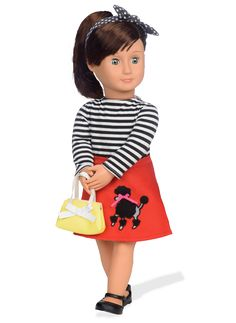 Peggy is an adorable Our Generation doll with short brown hair and bangs, and blue eyes, who wears a striped shirt and vintage poodle skirt. Discover the Retro Collection today! Og Dolls, Girl Dolls, Short Brown Hair, Yellow Purses, Journey Girls, Our Generation Dolls, Doll Hair, Retro Outfits, Hairstyles With Bangs