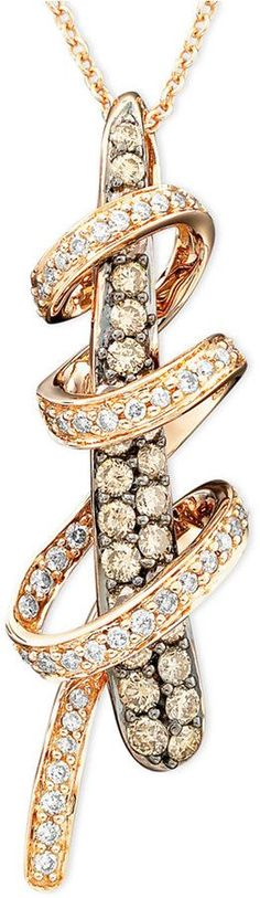 LeVian Le Vian Diamond Chocolate Diamond Twirl Pendant (3/4 ct. t.w.) in 14k Rose Gold