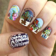 charlie brown christmas by nailstorming #nail #nails #nailart