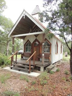 They use salvaged materials on all their projects. Tiny Texas Houses, Cabin Homes, Home And Away, Places To Go, Shed, Outdoor Structures, Cottages, House Styles, Guest Houses