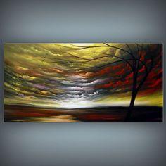 art original painting abstract landscape painting tree by mattsart
