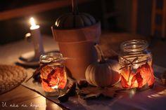 U nás na kopečku: Podzimní lucerničky Candle Jars, Candles, Lev, Table Decorations, Home Decor, Decoration Home, Room Decor, Candy, Candle Sticks