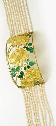 Choker. Rene Lalique (1860-1945). Circa 1899. Gold, pearls, enamel. 9 and 1/2 centimeters long by 5 centimeters wide.