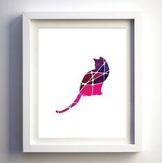 Purple and pink cat digital art print modern baby girls nursery wall art mosaic art print geometric room decor contemporary art print decor Pink Cat, Blue Cats, Nursery Wall Art, Girl Nursery, Deer Cartoon, Minimalist Art, Mosaic Art, Contemporary Art, Digital Art