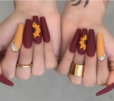 Cute Acrylic Nails 827325394032989232 - Beautiful Sunflower 🌻 nails design Source by melfrifri Cute Acrylic Nail Designs, Fall Nail Designs, Burgundy Nail Designs, Colorful Nail Designs, Best Nail Designs, Matte Nail Designs, Coffin Nail Designs, Colourful Nails, Coffin Nails Designs Summer