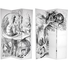 6 ft Tall Double Sided Alice in Wonderland Room Divider