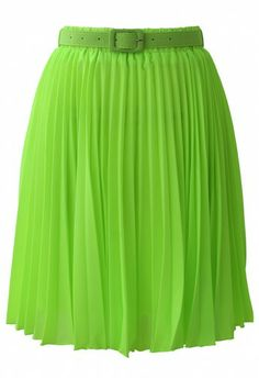 Neon Green Pleated Chiffon Midi Skirt with Belt - New Arrivals - Retro, Indie and Unique Fashion Led Dress, Dress Skirt, Midi Skirt, Cool Style, My Style, Weekend Wear, Neon Green, Unique Fashion, Fashion Brand