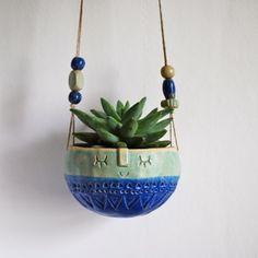Image of hanging bowl planter//blue + turquoise