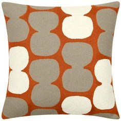 Contemporary Decorative Pillow from Judy Ross Textiles, Model: coral/oyster/cream