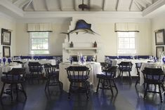 Pieter Estersohn photo of Tom Scheerer design. I knew the sailfish was back in Lyford Cay but Ye ol sailors tavern chairs, thats funny. Decor, Decorating Blogs, Interior, Lyford, New England Style, Kitchen Colour Schemes, Home Decor, Traditional Interior Design, Interior Design