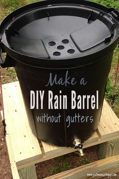 DIY Rain Barrel Need water for your garden but have no gutters? No problem! Make this easy DIY rain barrel as a standalone rainwater collector for easy garden watering. Save time and money with this simple DIY. Garden Yard Ideas, Easy Garden, Lawn And Garden, Garden Bar, Garden Crafts, Gutter Garden, Diy Garden Projects, Garden Boxes, Creative Garden Ideas