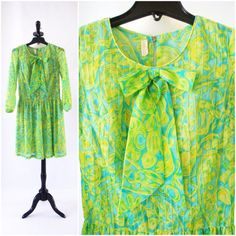 1960s Lime Green Scooter Dress by Bonwit Teller, Lime Green and Blue Short Floral Print Dress with Bow, Mod Mini Dress Size XS Size