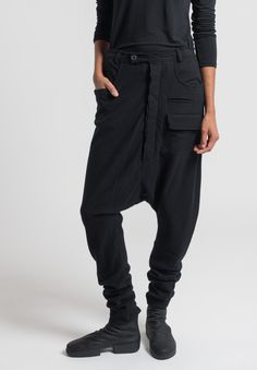 Rundholz Merino Wool Drop Crotch Pants in Black