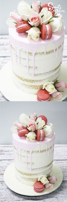 Single Tier Semi Naked Cake With Pink Pourover Fresh Blooms And Macarons