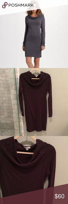 James Perse Draped Neck Dress in Eggplant Sz 2 James Perse Funnel Cowl Neck Dress in Dark Plummy Reddish Purple. I believe the actual color is Eggplant, Pinot or Fig but they all look so similar to me. Size 2 or Medium. Draped Neckline. Excellent condition. Retail $198 James Perse Dresses Midi