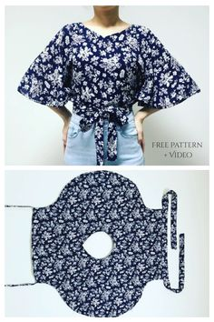Sewing Patterns Free, Free Sewing, Dress Sewing Patterns, Clothing Patterns, Sewing Tutorials, Top Free, Summer Wraps, Fabric Art, Blouse Styles