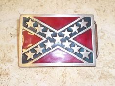 """$19.99 The Great American 1982 Confederate Flag Buckle D560 """"Pure Pewter"""" #GreatAmerican #confederate #flag #belt #buckle #fashion #shop #western #stars #red #blue #ebay #vintage #pewter"""