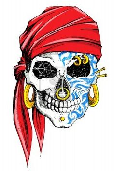 illustration of skull decorated with tatoo on white background