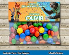 Zootopia Favor Bag Toppers BIRTHDAY party Printable - Personalized - Digital File