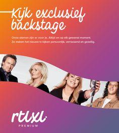 RTL XL - kijk exclusief backstage met de RTL XL app Merkstijl: strategisch design bureau Wunder.