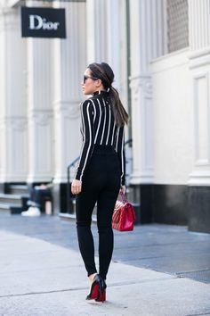 Vertical :: Striped top & High-waisted pants